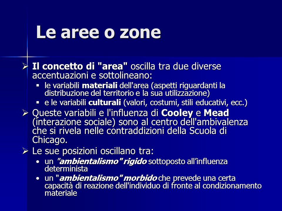 Le aree o zone  Il concetto di