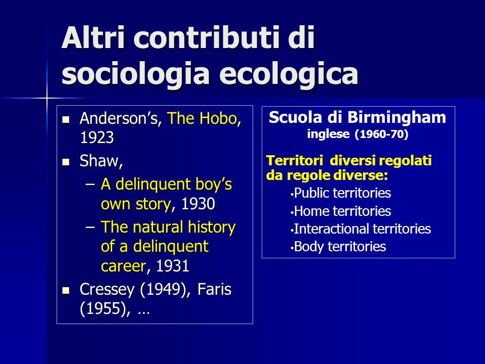 Altri contributi di sociologia ecologica Anderson's, The Hobo, 1923 Anderson's, The Hobo, 1923 Shaw, Shaw, –A delinquent boy's own story, 1930 –The na