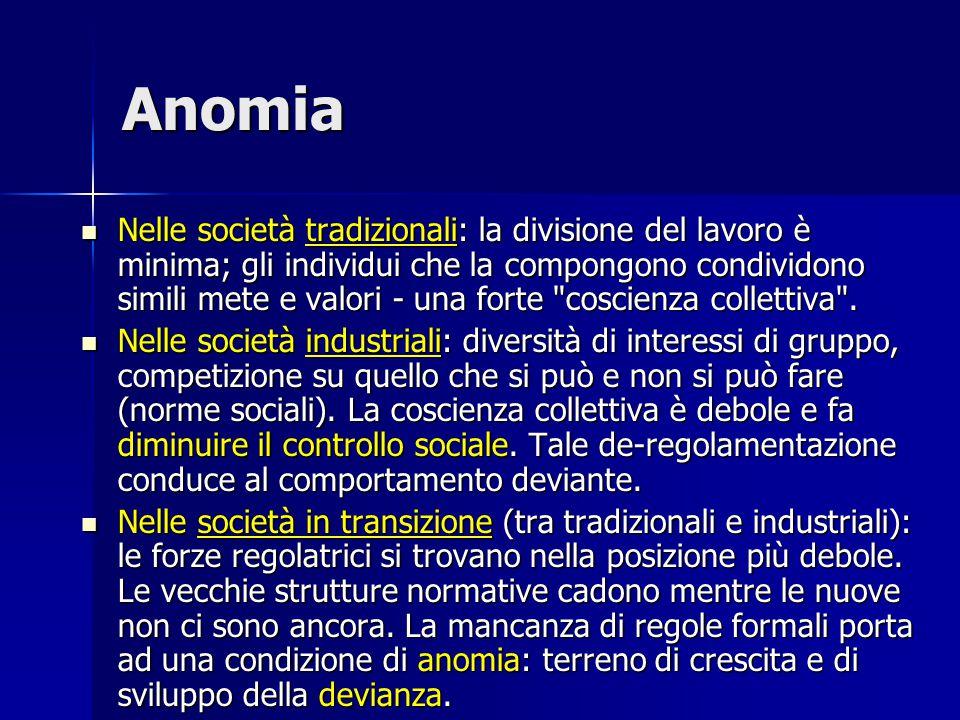 Anomia Nelle società tradizionali: la divisione del lavoro è minima; gli individui che la compongono condividono simili mete e valori - una forte