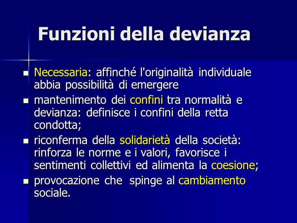 Funzioni della devianza Necessaria: affinché l'originalità individuale abbia possibilità di emergere Necessaria: affinché l'originalità individuale ab