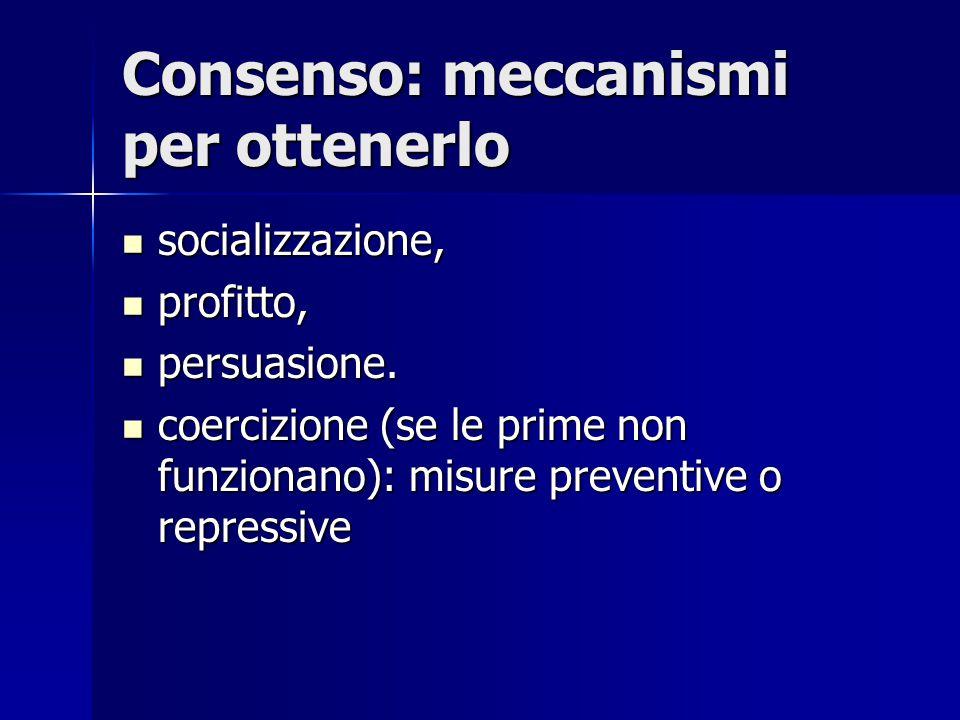Consenso: meccanismi per ottenerlo socializzazione, socializzazione, profitto, profitto, persuasione. persuasione. coercizione (se le prime non funzio