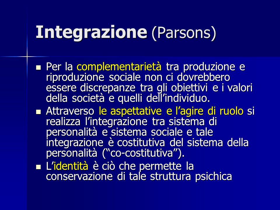 Integrazione (Parsons) Per la complementarietà tra produzione e riproduzione sociale non ci dovrebbero essere discrepanze tra gli obiettivi e i valori