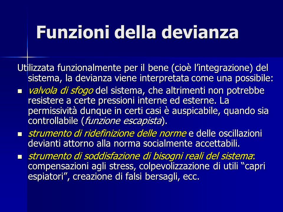 Funzioni della devianza Utilizzata funzionalmente per il bene (cioè l'integrazione) del sistema, la devianza viene interpretata come una possibile: va