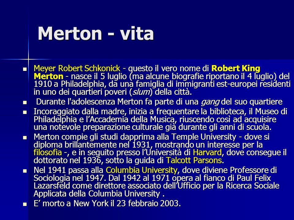 Merton - opere La sua opera più ponderosa è Teoria e struttura sociale, pubblicata per la prima volta nel 1949 e poi ampliata nel 1957 e nel 1968.
