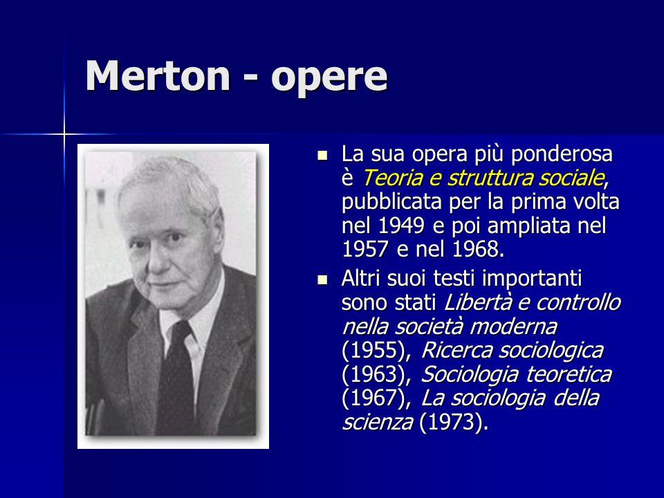 Merton - opere La sua opera più ponderosa è Teoria e struttura sociale, pubblicata per la prima volta nel 1949 e poi ampliata nel 1957 e nel 1968. La