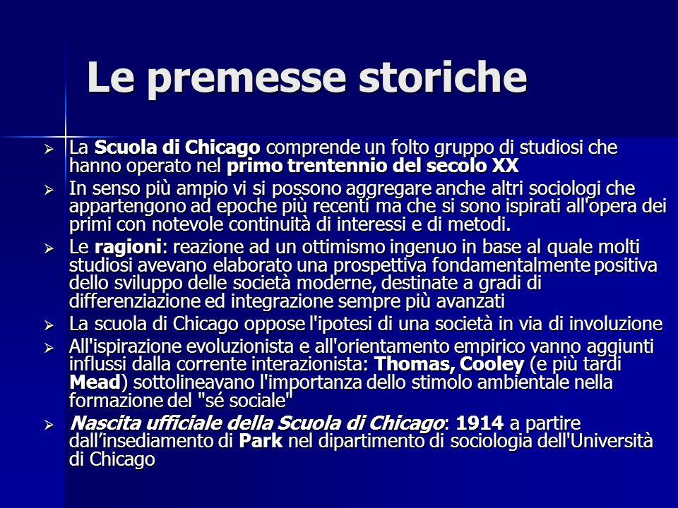 Le premesse storiche  La Scuola di Chicago comprende un folto gruppo di studiosi che hanno operato nel primo trentennio del secolo XX  In senso più