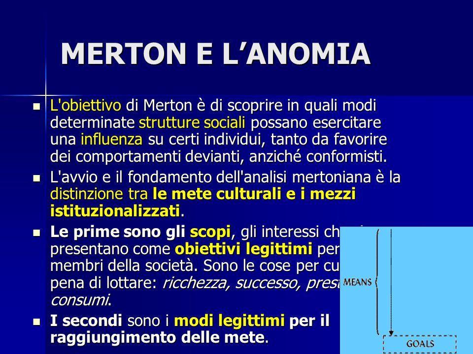 MERTON E L'ANOMIA/2 Nelle società in cui le due componenti non sono fortemente integrate, l esaltazione eccessiva delle mete produce la demoralizzazione, cioè la de-istituzionalizzazione dei mezzi.