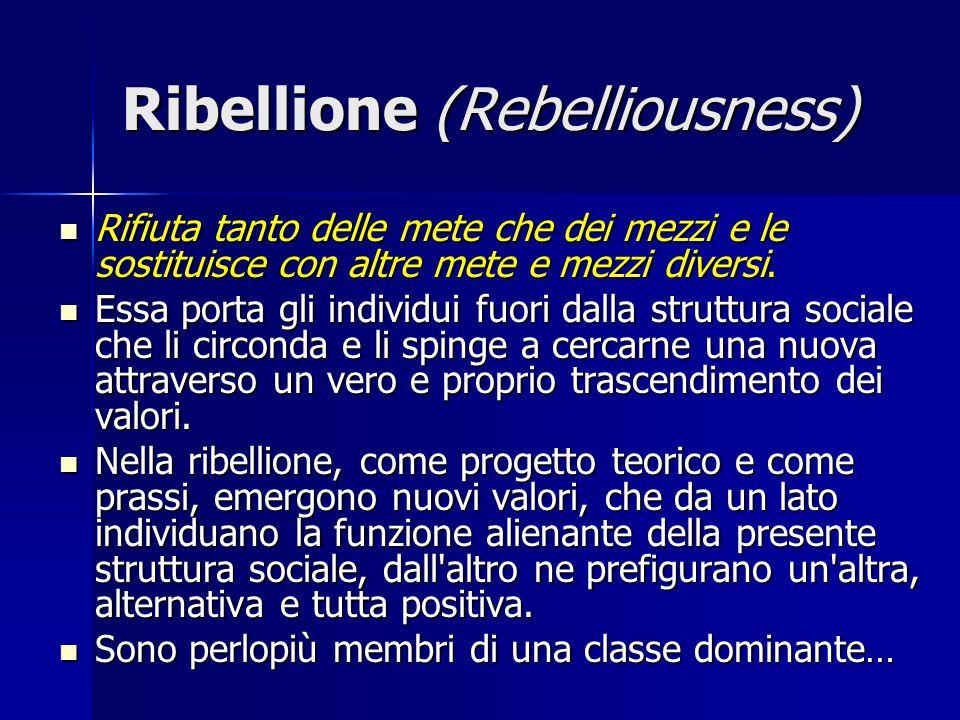 Ribellione (Rebelliousness) Rifiuta tanto delle mete che dei mezzi e le sostituisce con altre mete e mezzi diversi. Rifiuta tanto delle mete che dei m