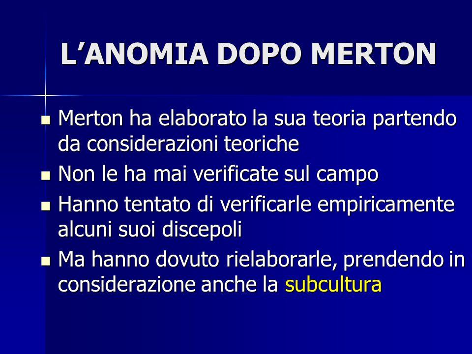 L'ANOMIA DOPO MERTON Merton ha elaborato la sua teoria partendo da considerazioni teoriche Merton ha elaborato la sua teoria partendo da considerazion
