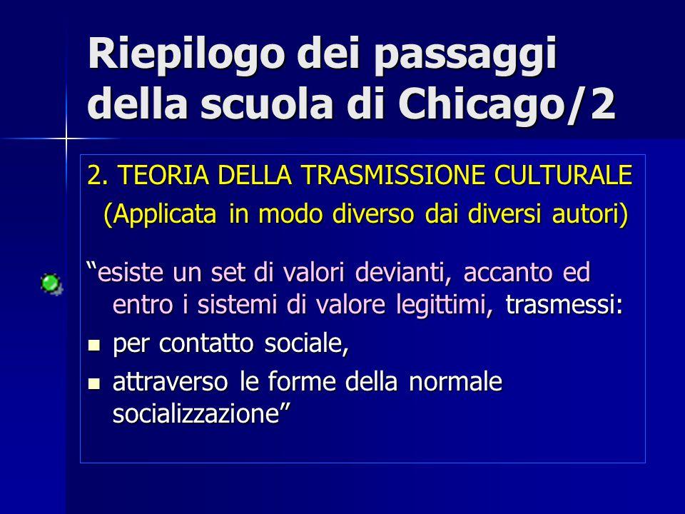 Riepilogo dei passaggi della scuola di Chicago/2 2. TEORIA DELLA TRASMISSIONE CULTURALE (Applicata in modo diverso dai diversi autori) (Applicata in m
