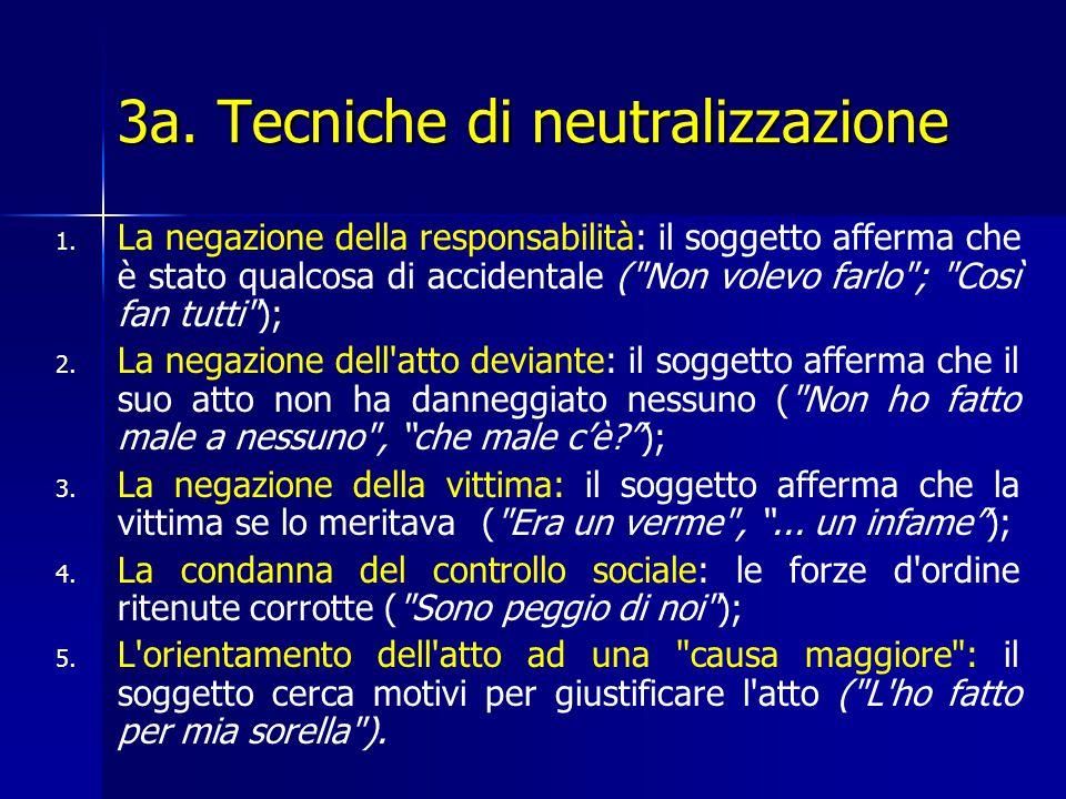 3a. Tecniche di neutralizzazione 1. 1. La negazione della responsabilità: il soggetto afferma che è stato qualcosa di accidentale (