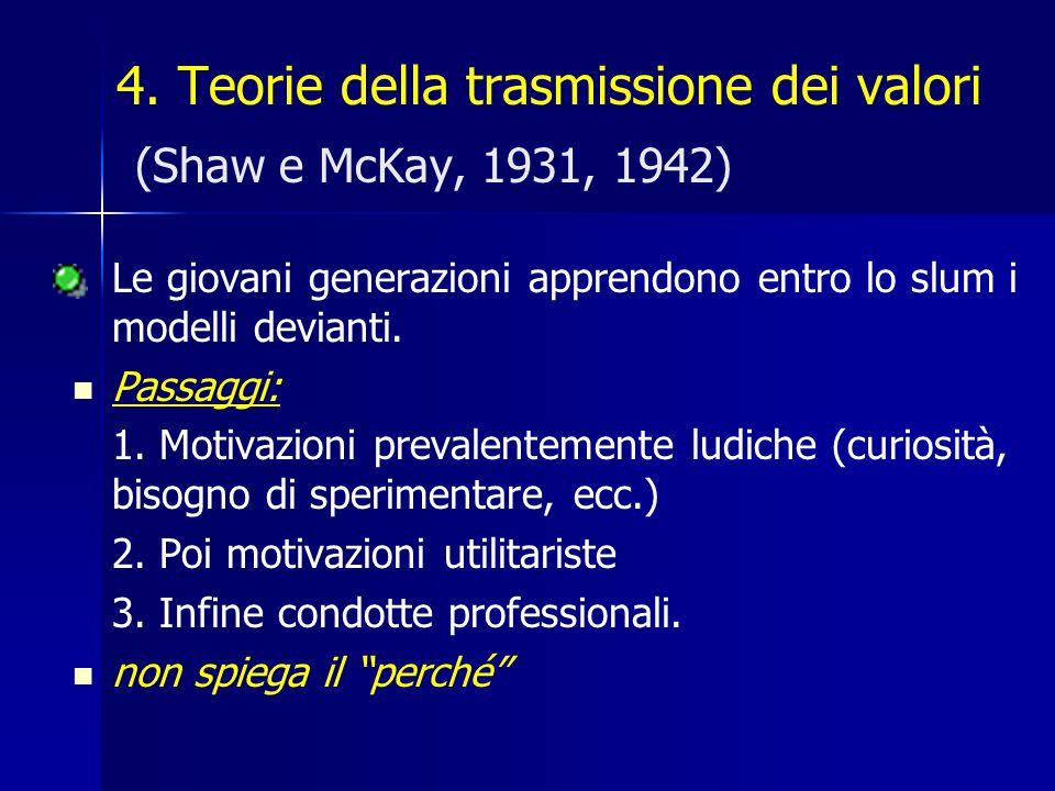 4. Teorie della trasmissione dei valori (Shaw e McKay, 1931, 1942) Le giovani generazioni apprendono entro lo slum i modelli devianti. Passaggi: 1. Mo
