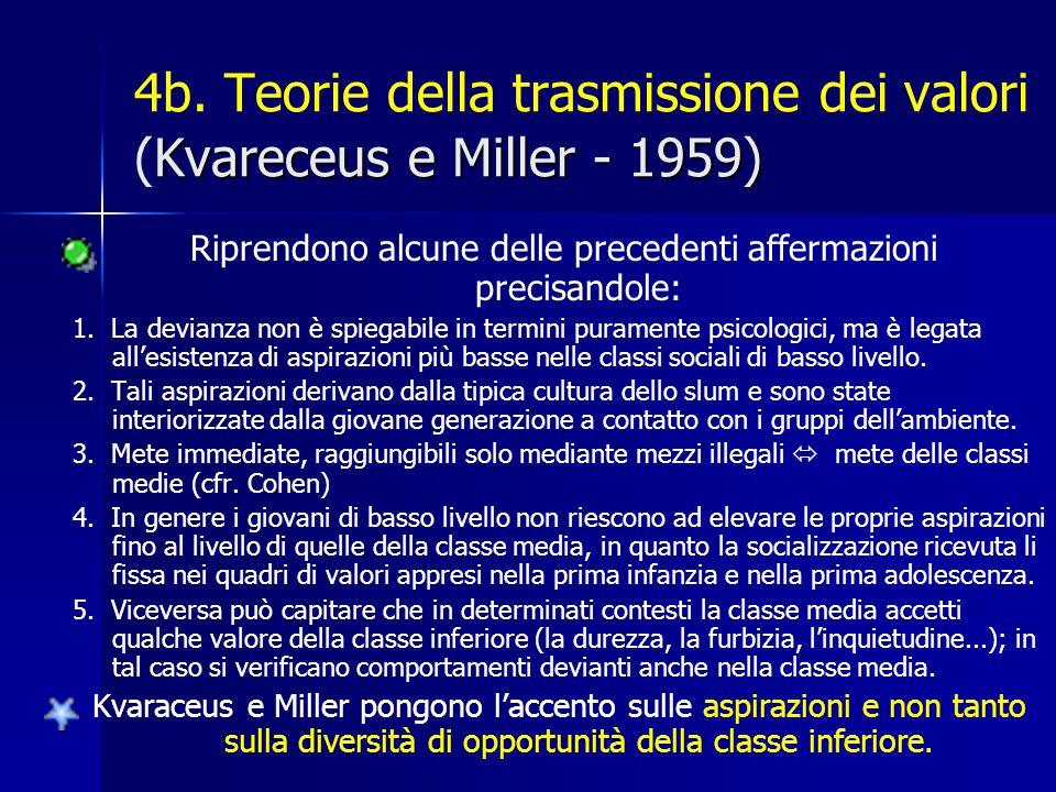 Kvareceus e Miller - 1959) 4b. Teorie della trasmissione dei valori (Kvareceus e Miller - 1959) Riprendono alcune delle precedenti affermazioni precis