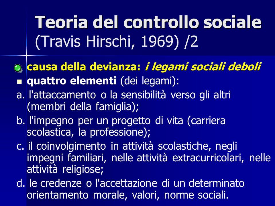Teoria del controllo sociale Teoria del controllo sociale (Travis Hirschi, 1969) /3 La confluenza degli elementi del quadro precedente si trasforma in un forte legame sociale e quindi in conformità ; mentre la mancanza di quegli elementi indica che non esiste sufficiente controllo interno ed esterno per frenare la devianza.