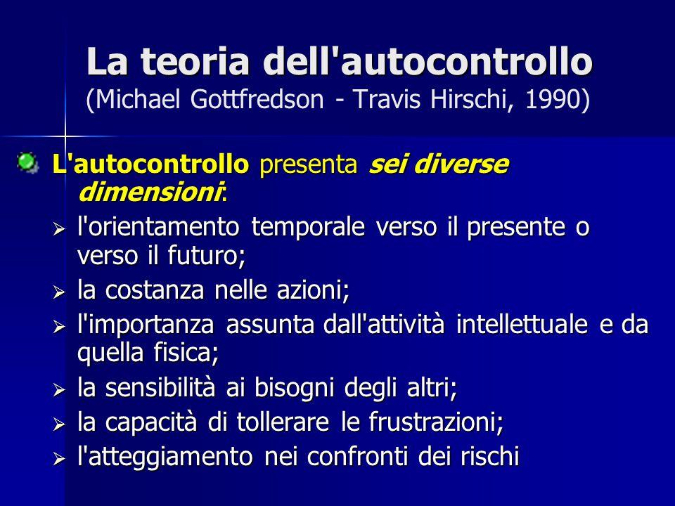 La teoria dell autocontrollo La teoria dell autocontrollo (Michael Gottfredson - Travis Hirschi) /2 L autocontrollo è una caratteristica individuale appresa nei primi dieci anni di vita.