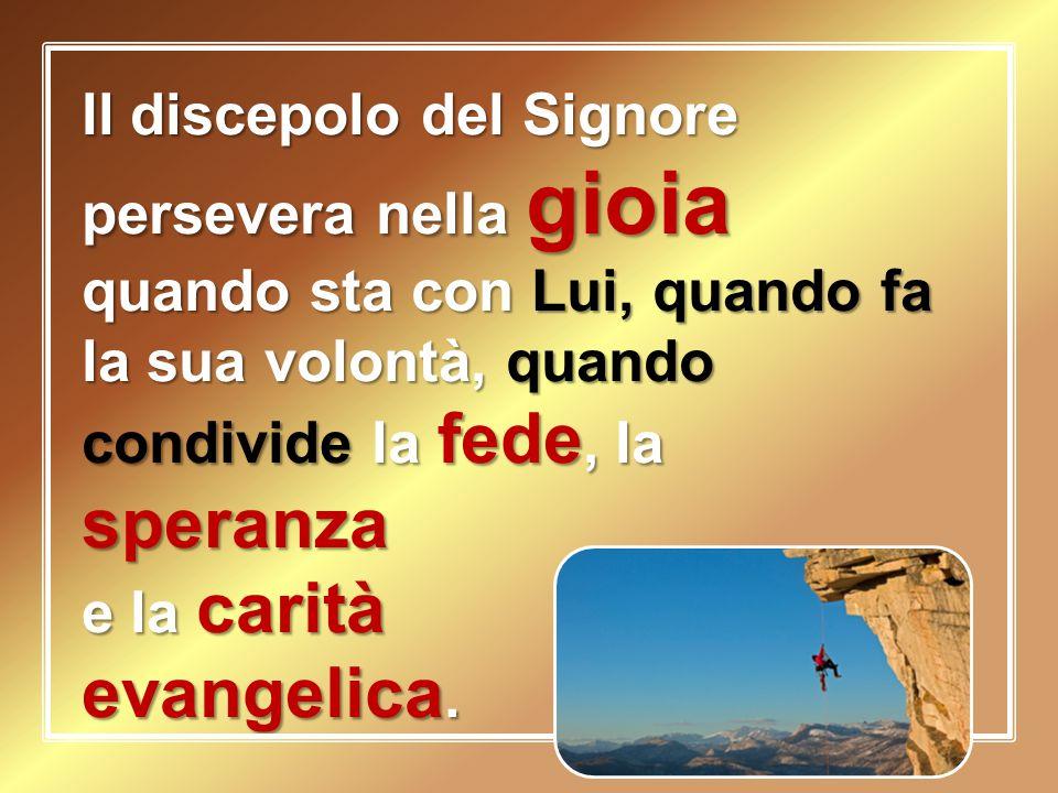 Il discepolo del Signore persevera nella gioia quando sta con Lui, quando fa la sua volontà, quando condivide la fede, la speranza e la carità evangel