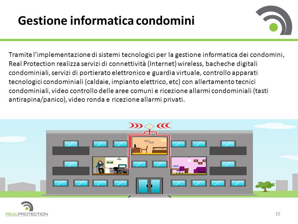 15 Gestione informatica condomini Tramite l'implementazione di sistemi tecnologici per la gestione informatica dei condomini, Real Protection realizza