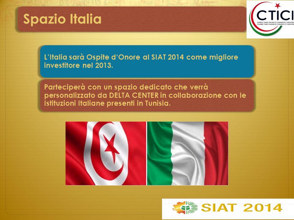 Spazio Italia L'Italia sarà Ospite d'Onore al SIAT 2014 come migliore investitore nel 2013. Parteciperà con un spazio dedicato che verrà personalizzat