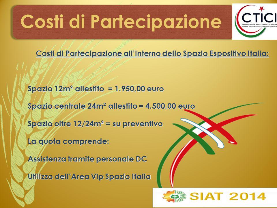 Costi di Partecipazione Costi di Partecipazione all'interno dello Spazio Espositivo Italia: Spazio 12m² allestito = 1.950,00 euro Spazio centrale 24m²