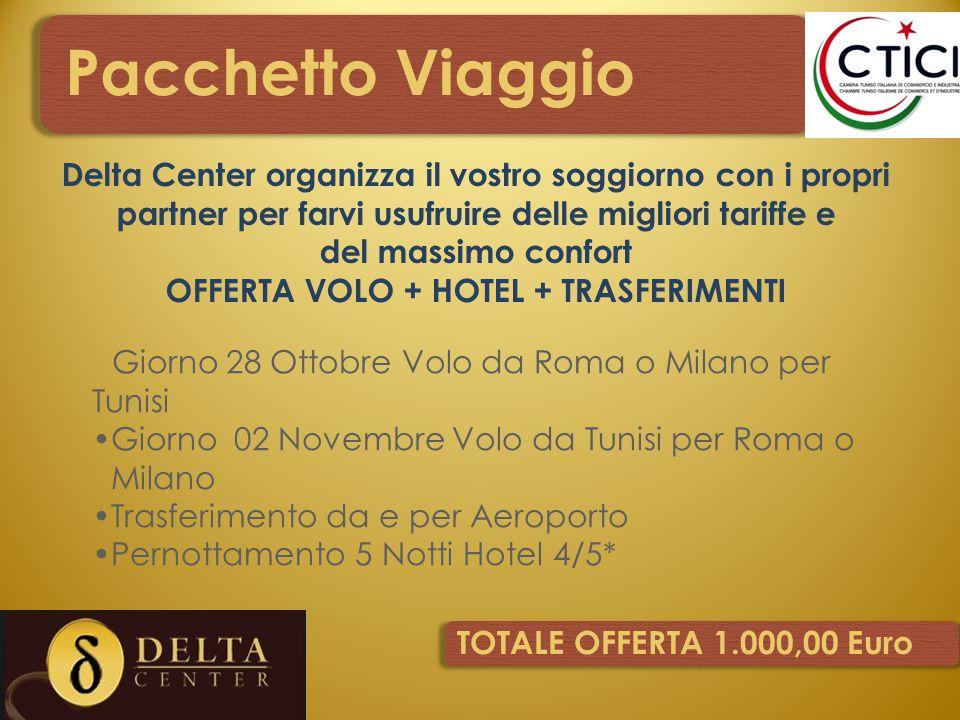 Pacchetto Viaggio Giorno 28 Ottobre Volo da Roma o Milano per Tunisi Giorno 02 Novembre Volo da Tunisi per Roma o Milano Trasferimento da e per Aeropo