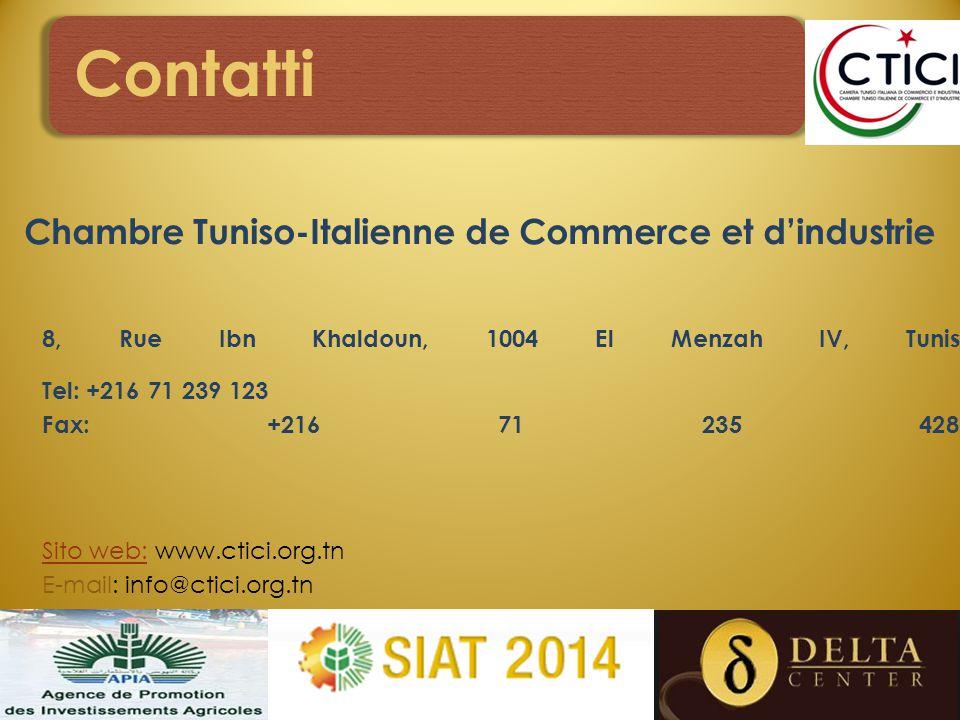 Contatti Chambre Tuniso-Italienne de Commerce et d'industrie 8, Rue Ibn Khaldoun, 1004 El Menzah IV, Tunis Tel: +216 71 239 123 Fax: +216 71 235 428 Sito web:Sito web: www.ctici.org.tn E-mail: info@ctici.org.tn