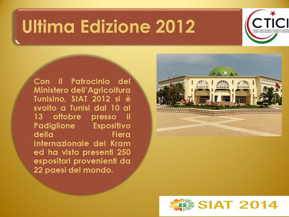 Ultima Edizione 2012 Con il Patrocinio del Ministero dell'Agricoltura Tunisino, SIAT 2012 si è svolto a Tunisi dal 10 al 13 ottobre presso il Padiglio
