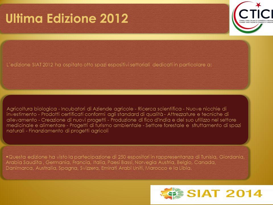 L'edizione SIAT 2012 ha ospitato otto spazi espositivi settoriali dedicati in particolare a: Agricoltura biologica - Incubatori di Aziende agricole -