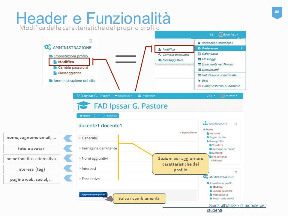 Header e Funzionalità 08 Guida all'utilizzo di moodle per studenti = Sezioni per aggiornare caratteristiche del profilo Salva i cambiamenti nome,cogno