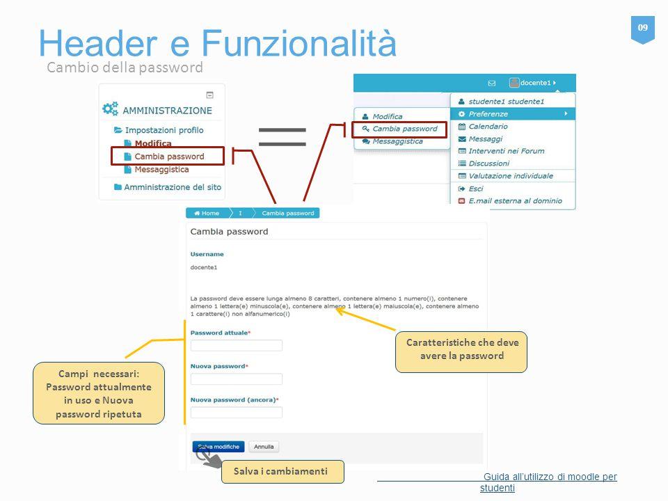 Header e Funzionalità 09 Guida all'utilizzo di moodle per studenti = Salva i cambiamenti Caratteristiche che deve avere la password Campi necessari: P