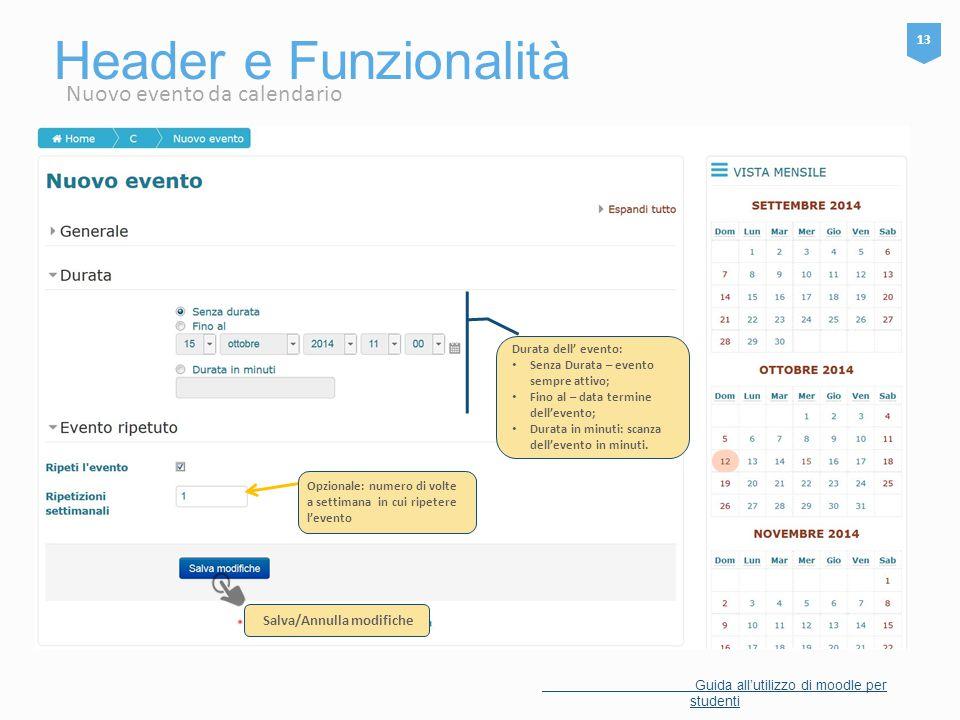 Header e Funzionalità 13 Guida all'utilizzo di moodle per studenti Nuovo evento da calendario Opzionale: numero di volte a settimana in cui ripetere l
