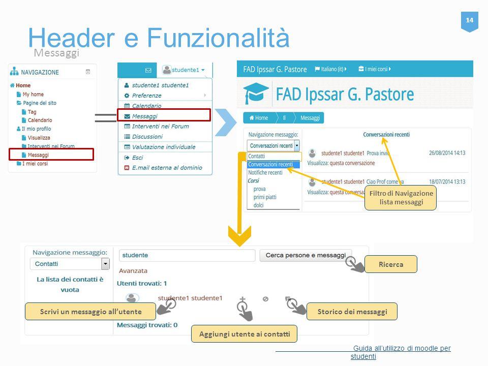 Header e Funzionalità 14 Guida all'utilizzo di moodle per studenti Filtro di Navigazione lista messaggi Ricerca Aggiungi utente ai contatti Scrivi un