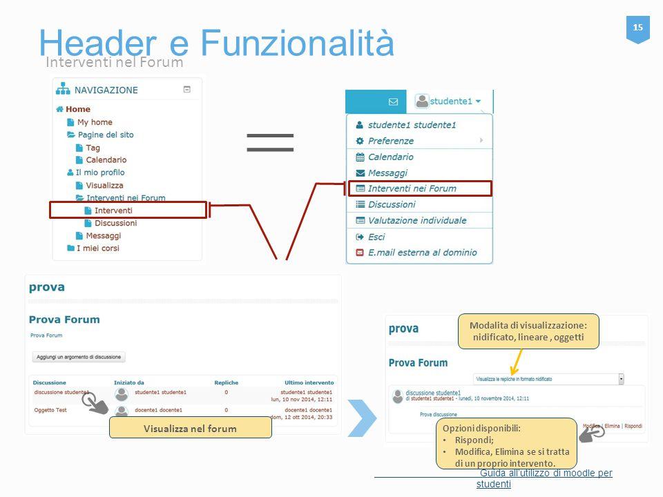 Header e Funzionalità 15 Guida all'utilizzo di moodle per studenti Opzioni disponibili: Rispondi; Modifica, Elimina se si tratta di un proprio interve