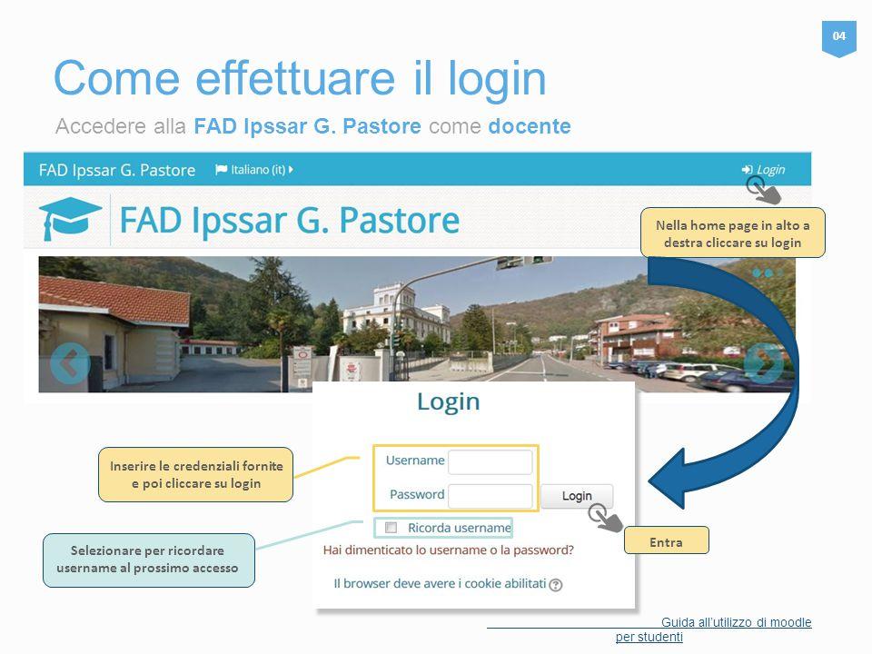 Accedere alla FAD Ipssar G. Pastore come docente Come effettuare il login 04 Nella home page in alto a destra cliccare su login Inserire le credenzial