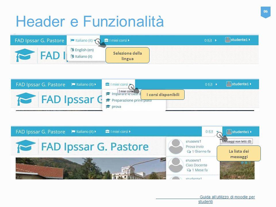 Header e Funzionalità 06 Guida all'utilizzo di moodle per studenti Selezione della lingua I corsi disponibili La lista dei messaggi
