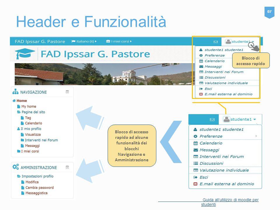 Header e Funzionalità 07 Guida all'utilizzo di moodle per studenti Blocco di accesso rapido ad alcune funzionalità dei blocchi Navigazione e Amministr