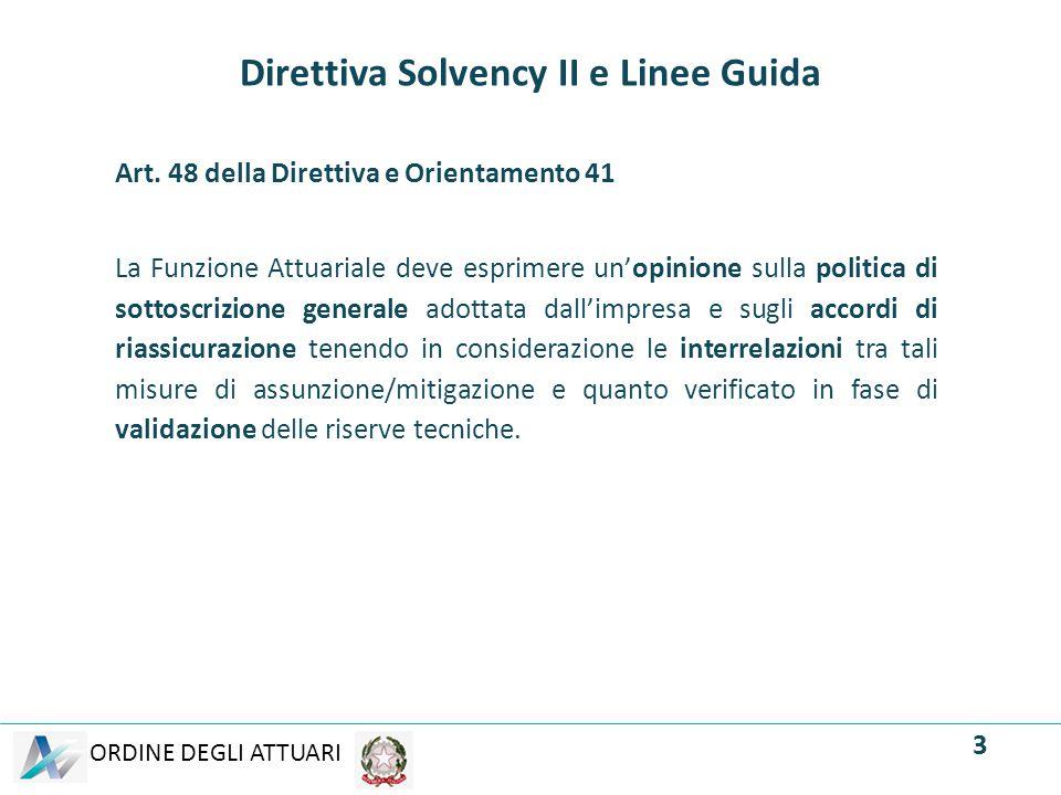 ORDINE DEGLI ATTUARI Direttiva Solvency II e Linee Guida Art. 48 della Direttiva e Orientamento 41 La Funzione Attuariale deve esprimere un'opinione s