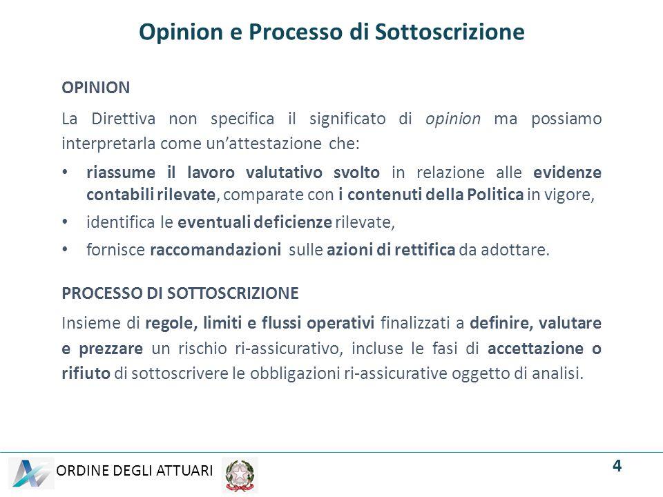 ORDINE DEGLI ATTUARI Opinion e Processo di Sottoscrizione OPINION La Direttiva non specifica il significato di opinion ma possiamo interpretarla come
