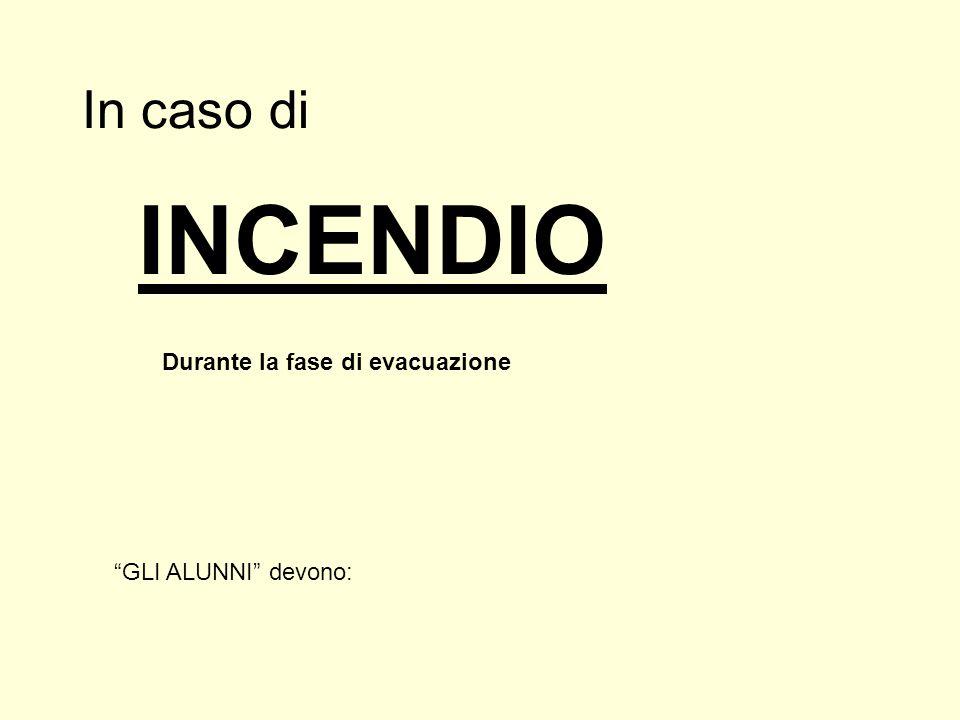 """In caso di Durante la fase di evacuazione INCENDIO """"GLI ALUNNI"""" devono:"""
