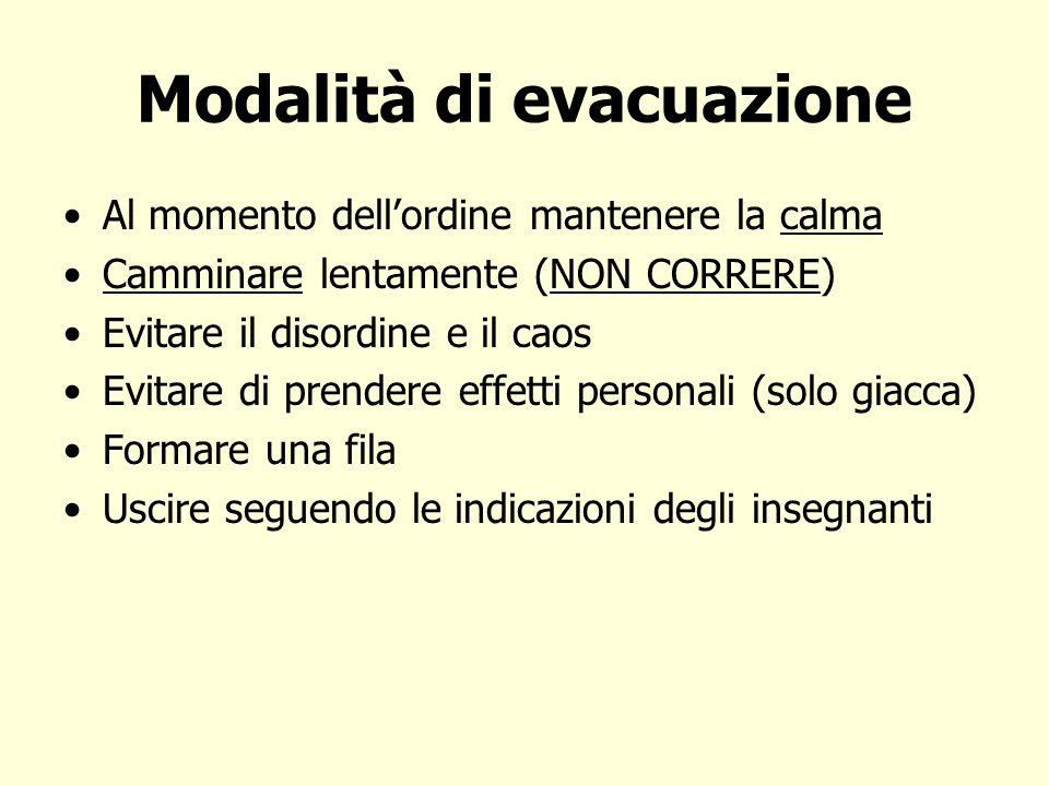 Modalità di evacuazione Al momento dell'ordine mantenere la calma Camminare lentamente (NON CORRERE) Evitare il disordine e il caos Evitare di prender