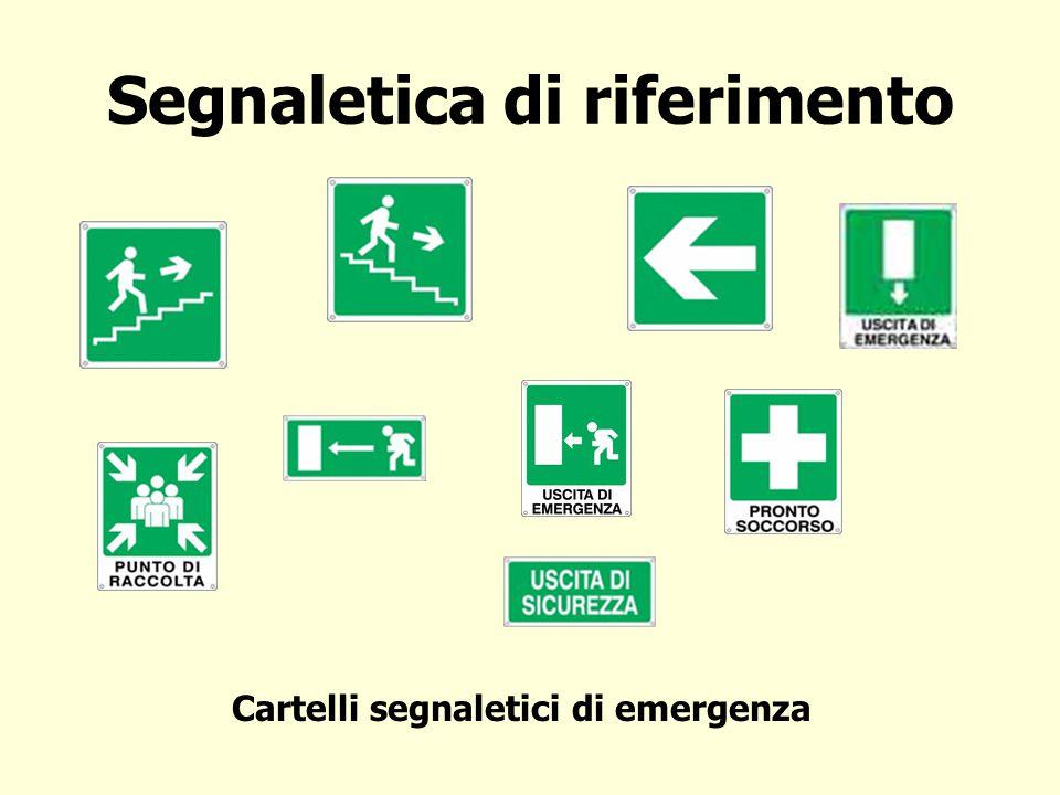 Segnaletica di riferimento Cartelli segnaletici di emergenza