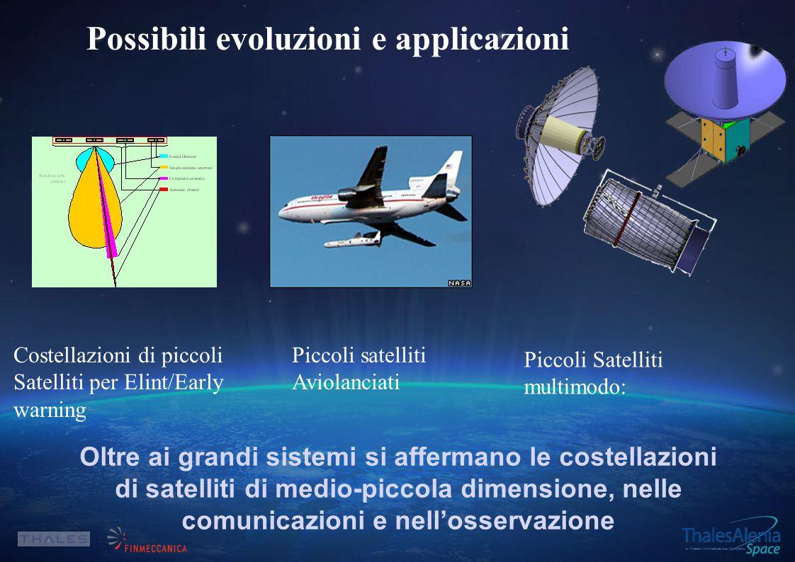 Oltre ai grandi sistemi si affermano le costellazioni di satelliti di medio-piccola dimensione, nelle comunicazioni e nell'osservazione Possibili evoluzioni e applicazioni Costellazioni di piccoli Satelliti per Elint/Early warning Piccoli satelliti Aviolanciati Piccoli Satelliti multimodo: