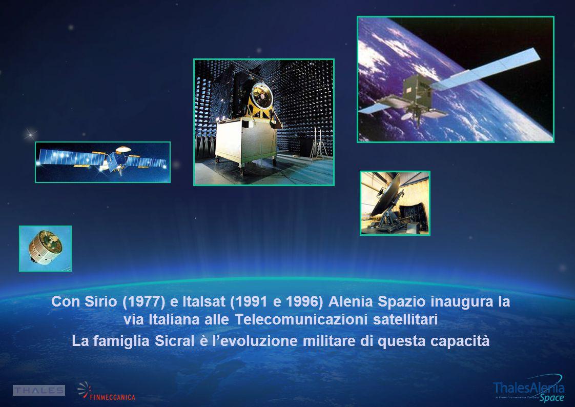 Con Sirio (1977) e Italsat (1991 e 1996) Alenia Spazio inaugura la via Italiana alle Telecomunicazioni satellitari La famiglia Sicral è l'evoluzione militare di questa capacità