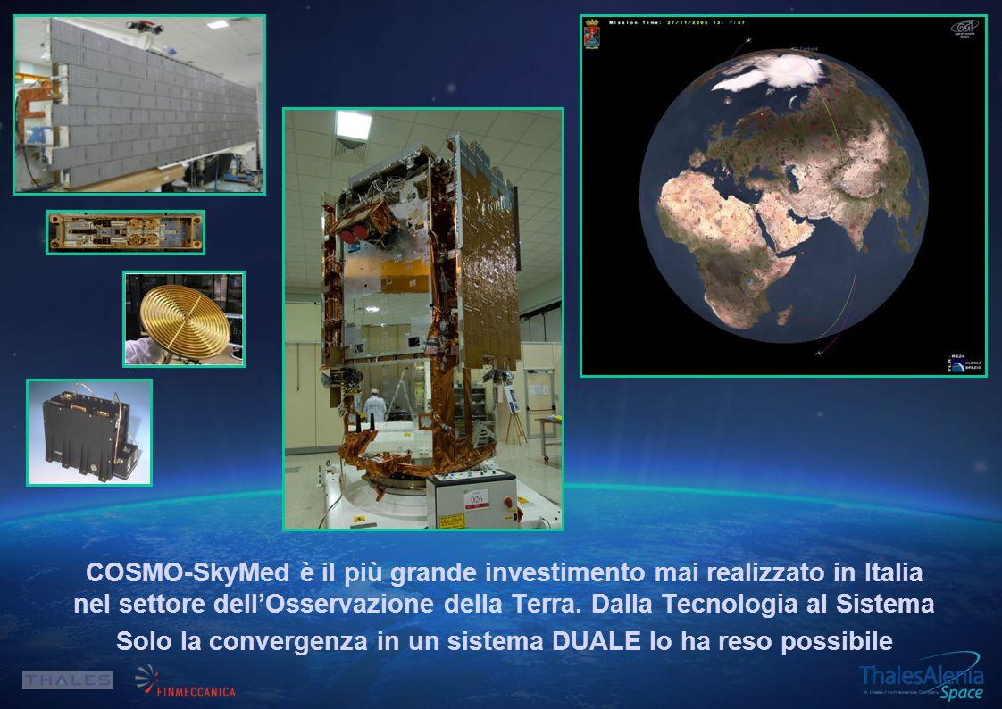 COSMO-SkyMed è il più grande investimento mai realizzato in Italia nel settore dell'Osservazione della Terra.