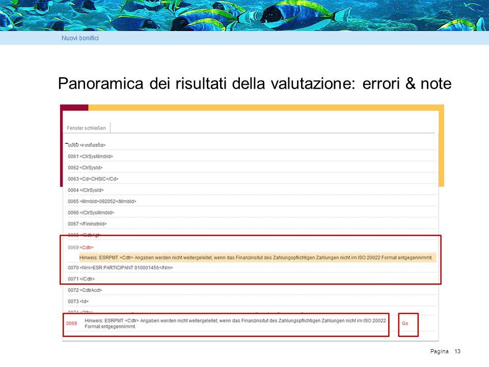 Pagina 13 Panoramica dei risultati della valutazione: errori & note