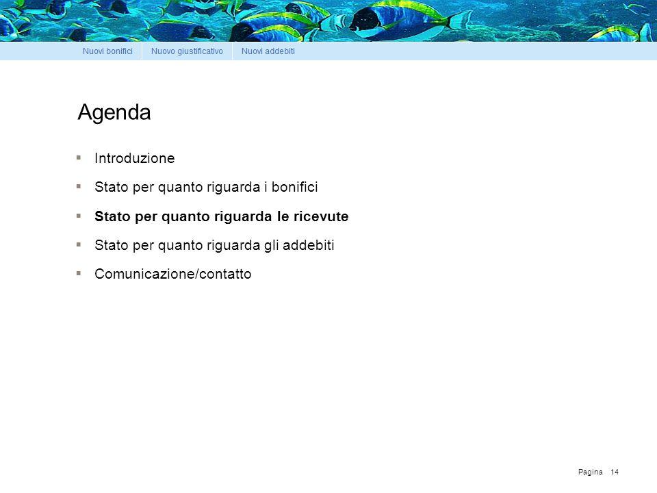 Pagina Agenda  Introduzione  Stato per quanto riguarda i bonifici  Stato per quanto riguarda le ricevute  Stato per quanto riguarda gli addebiti  Comunicazione/contatto 14