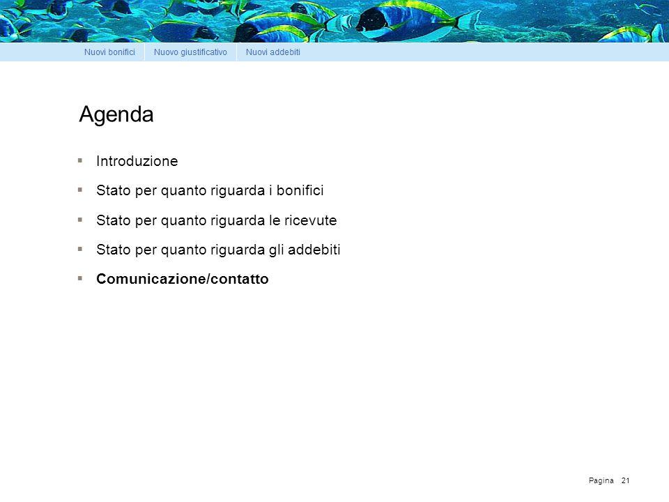 Pagina Agenda  Introduzione  Stato per quanto riguarda i bonifici  Stato per quanto riguarda le ricevute  Stato per quanto riguarda gli addebiti  Comunicazione/contatto 21