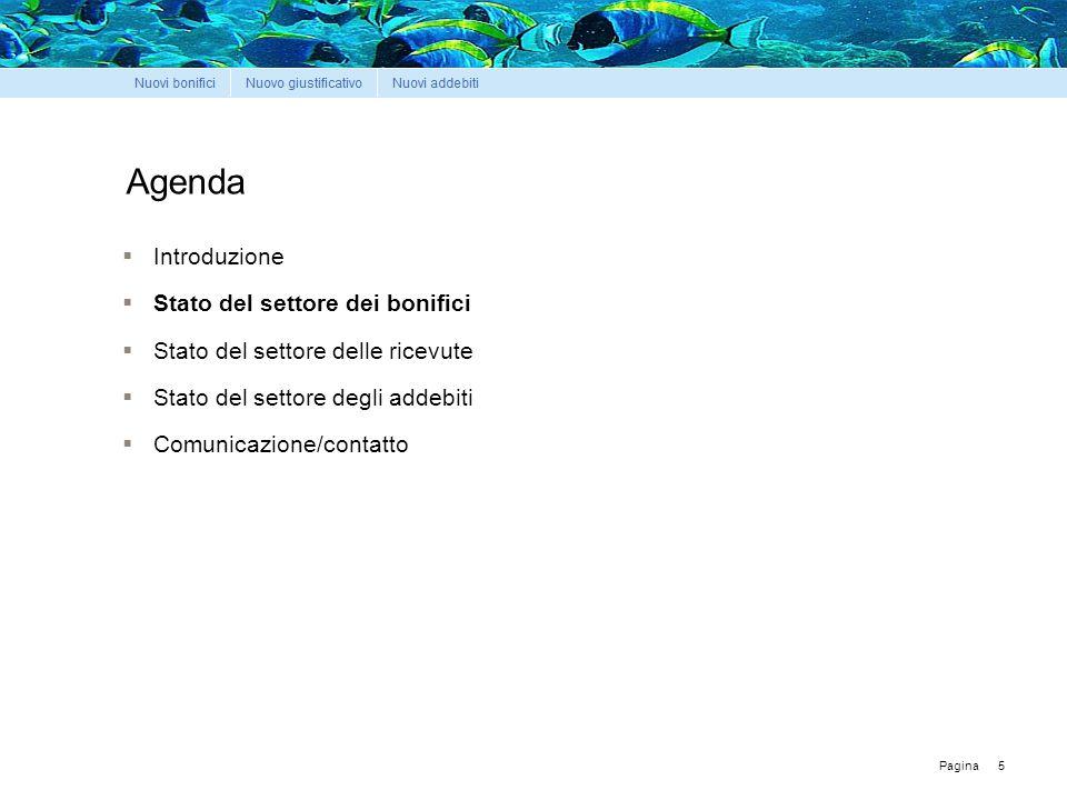 Pagina Agenda  Introduzione  Stato del settore dei bonifici  Stato del settore delle ricevute  Stato del settore degli addebiti  Comunicazione/contatto 5