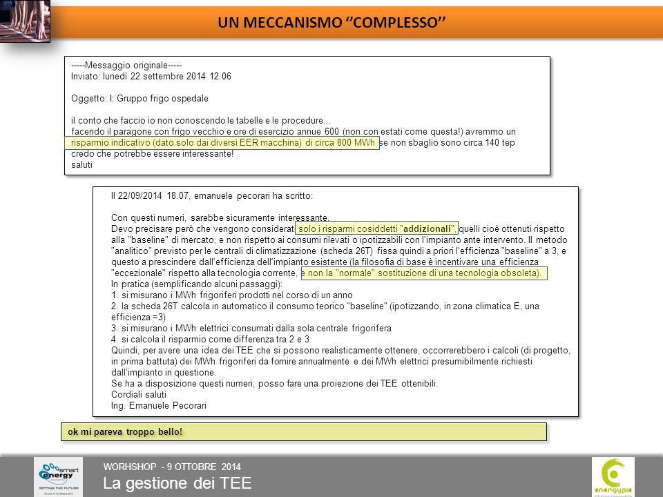 La gestione dei TEE WORHSHOP - 9 OTTOBRE 2014 UN MECCANISMO ''COMPLESSO'' ok mi pareva troppo bello.