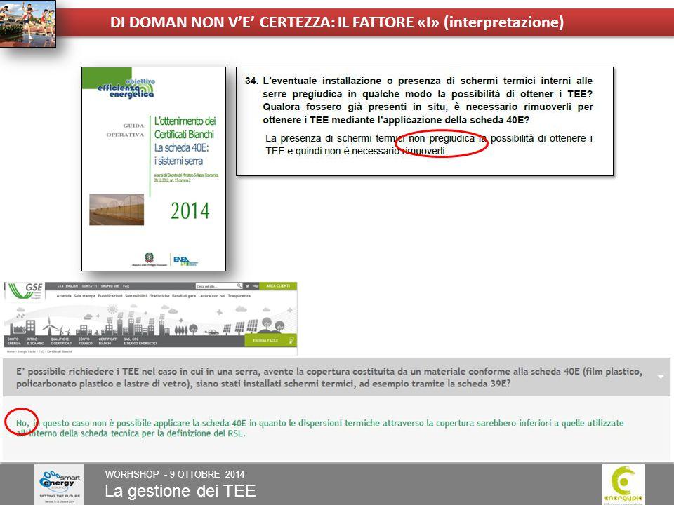 La gestione dei TEE WORHSHOP - 9 OTTOBRE 2014 DI DOMAN NON V'E' CERTEZZA: IL FATTORE «I» (interpretazione)