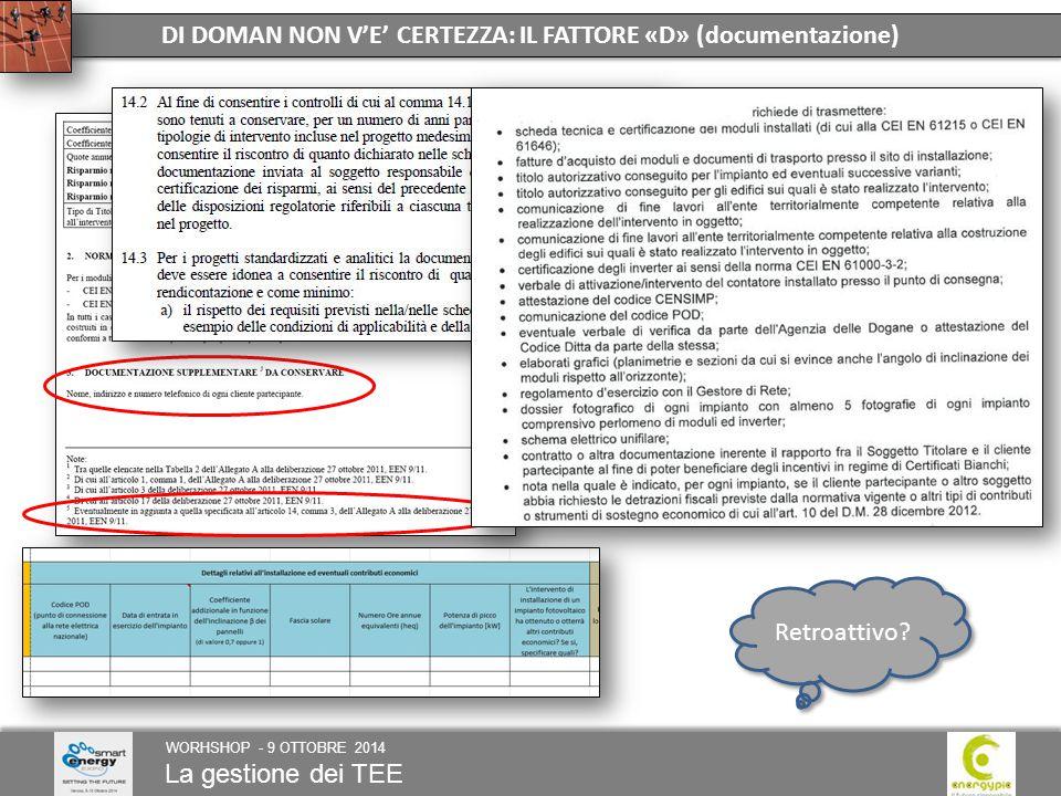 La gestione dei TEE WORHSHOP - 9 OTTOBRE 2014 DI DOMAN NON V'E' CERTEZZA: IL FATTORE «D» (documentazione) Retroattivo?